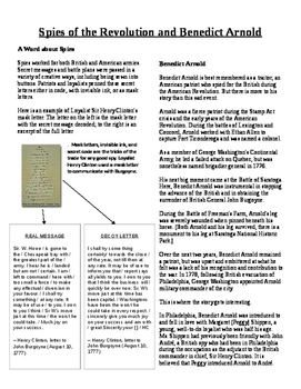 Informational Text - American Revolution: Spies and Benedict Arnold (No Prep)