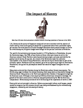 Informational Text - American Society after Revolution: Slavery (No Prep)