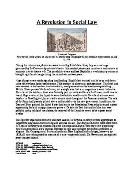 Informational Text - American Society after Revolution: Social Law (No Prep)