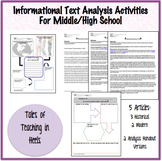 Informational Text Analysis Activities for Middle/High School