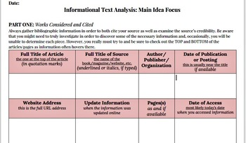 Informational Text Analysis, Main Idea Template Statement Graphic Organizer