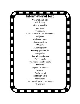 Informational Text Anchor Chart