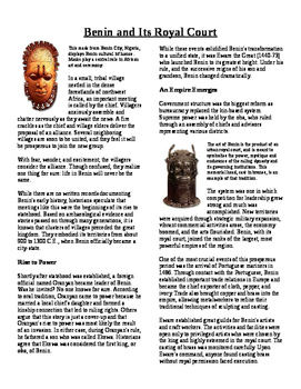 Informational Text - Ancient Africa: Benin and It's Royal Court (No Prep)