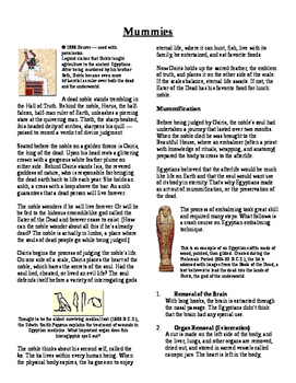 Informational Text - Ancient Egypt: Mummies (No Prep)
