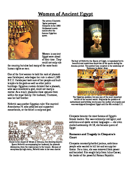 Informational Text - Ancient Egypt: Women in Ancient Egypt (No Prep)