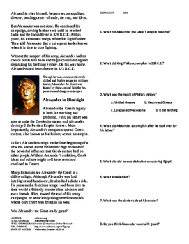 Informational Text - Ancient Greece: Alexander the Great (No Prep)