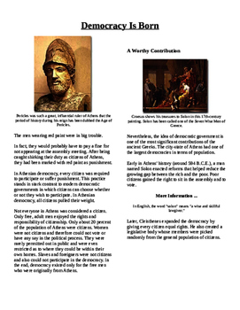 Informational Text - Ancient Greece: Democracy is Born (No Prep)