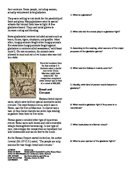 Informational Text - Ancient Rome: Gladiators, Chariots and Games (No Prep)
