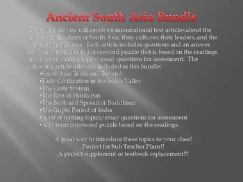 Informational Reading Text - Ancient South Asia Bundle (No Prep/Sub Plans)