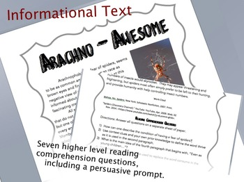 Informational Text: Arachno-Awesome
