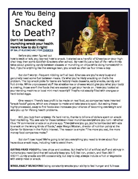 Informational Text: Are You Being Snacked to Death by Scholastic
