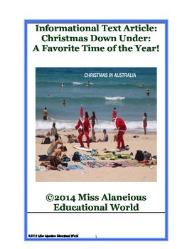 Informational Text Article: Christmas Down Under! A Favorite Time of the Year!
