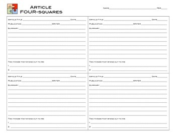 Informational Text Article Four Square (Jigsaw) Group Activity