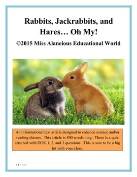 Informational Text Article: Rabbits, Jackrabbits, and Hares