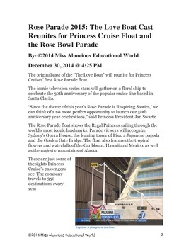 Informational Text Article: The Love Boat and the Rose Bowl Parade!