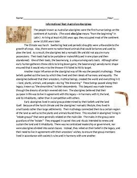 Informational Text: Australian Aborigines