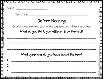 Informational Text - Before Reading and After Reading Organizers