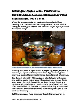 Informational Text: Bobbing for Apples! A Fall Fun Favorite!