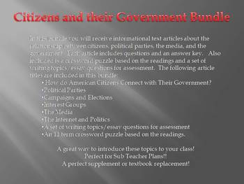 Info Reading Text - Citizens and Their Government Bundle (No Prep/Sub Plans)