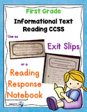 Reading Exit Slips First Grade Informational Text CCSS