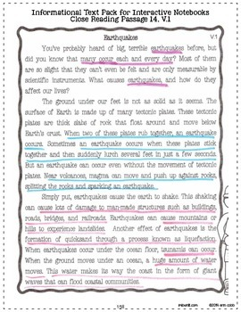 Informational Text CLOSE READING *Freebie* for Interactive Notebooks