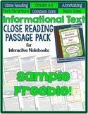 Informational Text CLOSE READING *Freebie* for Interactive