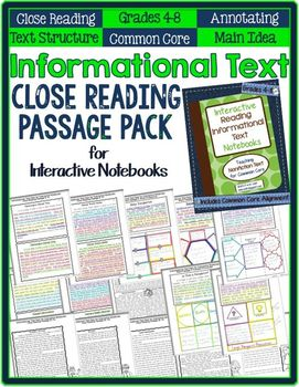 Informational text close reading passage pack for interactive informational text close reading passage pack for interactive notebooks 4 8 ccuart Gallery