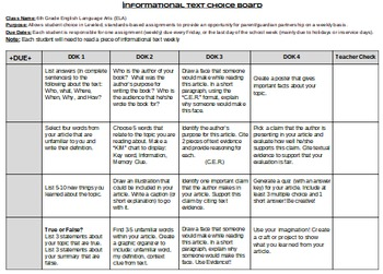 Informational Text Tasks/Activities- Differentiated by DOK + Student Choice!