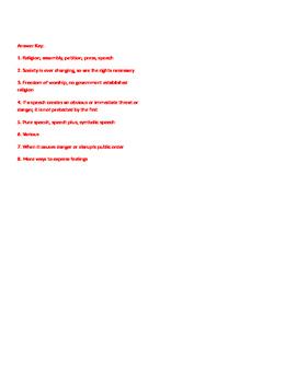 Info Reading Text - Civil Liberties and Rights: 1st Amendment (No Prep/Sub Plan)