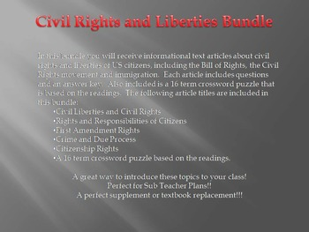 Info Reading Text - Civil Liberties and Rights Bundle (No Prep/Sub Plans)