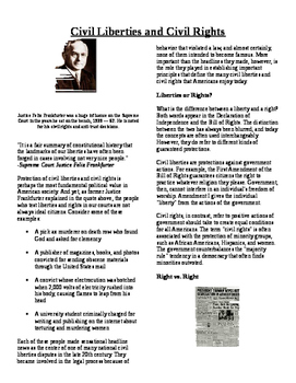 Informational Reading Text - Civil Liberties and Rights (No Prep/Sub Plans)