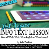 Informational Text Lesson on Hot Topics: Internet Safety, Woes of the Web
