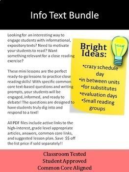 Nonfiction Close Reading Lesson on Hot Topics: BUNDLE of Five Lesson, Set 1