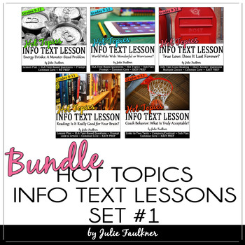Hot Topics Informational Text Lessons: BUNDLE, Set 1, 5 Ways to Keep Students Tuned-In at the End-of-the-Year