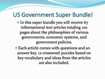 Info Reading Text - US Government Super Bundle: Save $60!! (No Prep Sub)