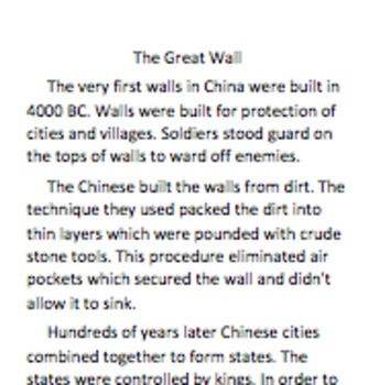 Informational Text Comprehension Questions for the Great Wall