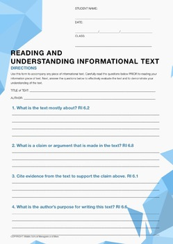 Informational Text: Comprehensive Universal  CloseReading/Writing Resource