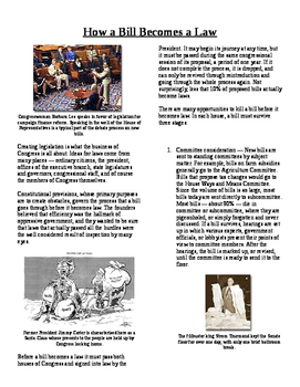 Informational Text - Congress: How a Bill Becomes a Law (No Prep)
