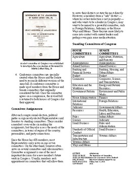 Informational Text - Congress: The Importance of Committees (No Prep)