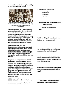 Informational Text - Congress: The People's Branch? (Sub Plans)