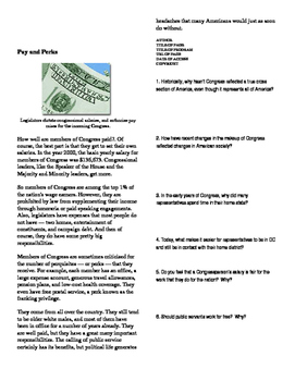 Informational Text - Congress: Who is in Congress (Sub Plans)