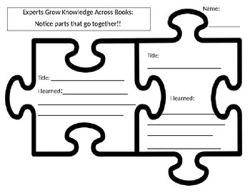 Informational Text Connection - Lucy Calkin's - Puzzle Pieces