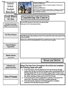 Informational Text: Content Article Analysis Worksheet