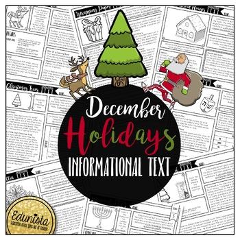 Informational Text: December Holidays | Reading Comprehension #turkeydeals