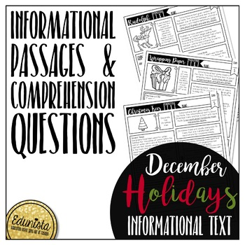 Informational Text: December Holidays | Reading Comprehension Passages/Questions