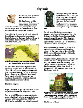 Informational Text - Early Middle East: Babylonian Empire (No Prep)