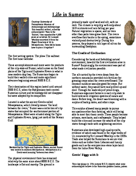 Informational Text - Early Middle East: Sumerian Empire (No Prep)