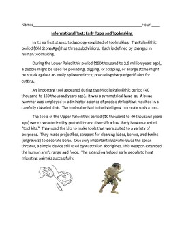 Informational Text: Early Tools and Toolmaking