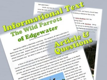Informational Text: Edgewater Parrots by Weird NJ