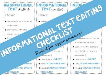Informational Text Editing Checklist